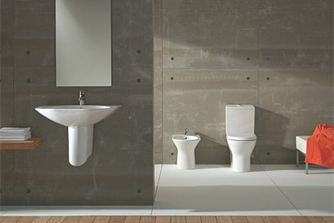 The Nexo bathroom collection is a modern take on classic white sanitary suites from Roca.