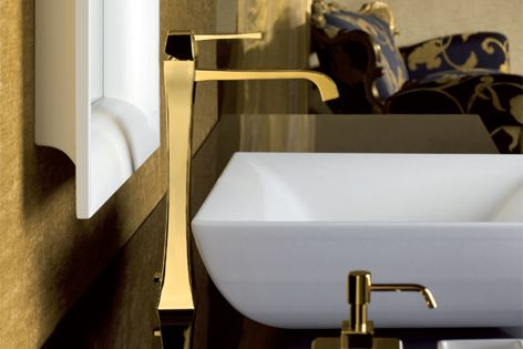 Sleek Mimi tapware and accessories are available in gold, pearl, brushed nickel and chrome finishes.