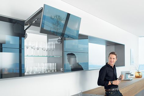 Offering unhindered cabinet access, the Aventos lift system adds ease of motion to any wall cabinet.