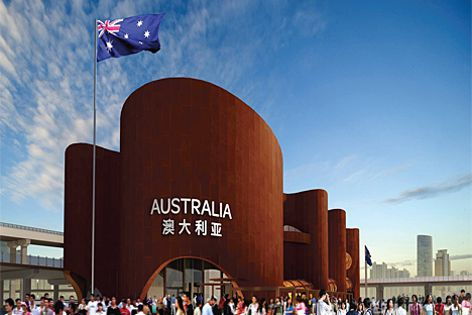 The Australian pavilion at the 2010 Shanghai World Expo built using Azure weathering steel.