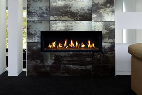 The clean lines of Lopi Linear fireplaces complement contemporary interiors. Linear fireplaces come in three sizes.