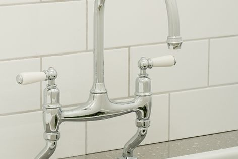 The Perrin & Rowe Ionian kitchen tap has a classic design with either crosshead handles or levers.