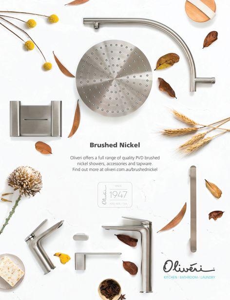 Brushed Nickel bathroom fittings by Oliveri