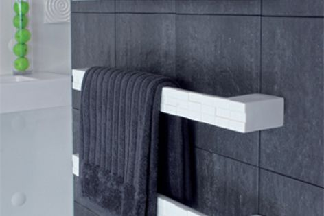 Mosaic from DCS is part of a new range of heated rails in ceramic and glass.