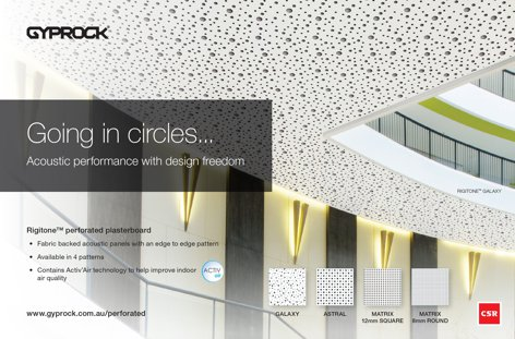 Rigitone perforated plasterboard by Gyprock