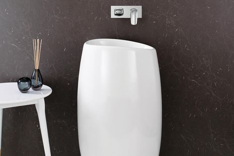 The smooth and sculptural Muze Freestanding Basin.