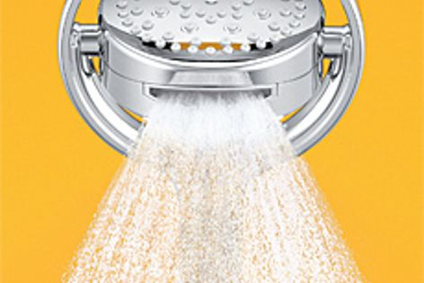 The Flipside shower head can be rotated through four separate spray options.