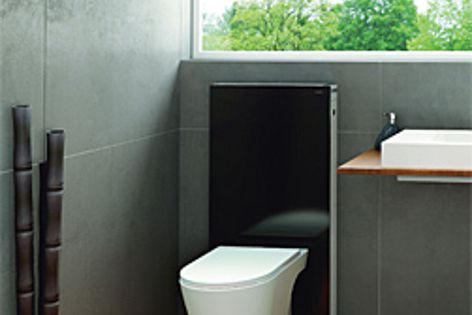 The Monolith WC module's design uses safety glass and aluminium.