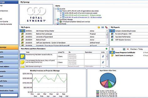 Synergy Practice Management software manages budgets, projects, costs, billing, documents, emails.