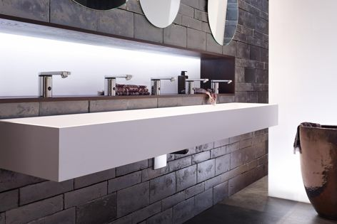 Flowing water generates power to recharge Geberit's HyTronic taps.