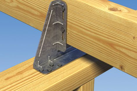 BraceWall brackets replace shear blocks for connecting ceiling diaphragms to non-load-bearing walls.
