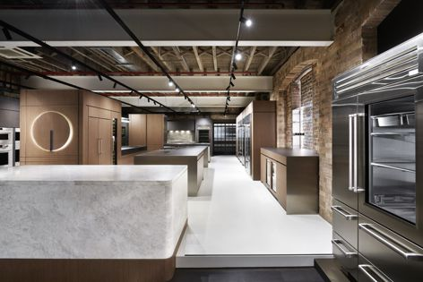 Visitors are welcomed into an open plan retail space that showcases the extensive range of Sub-Zero and Wolf appliances.
