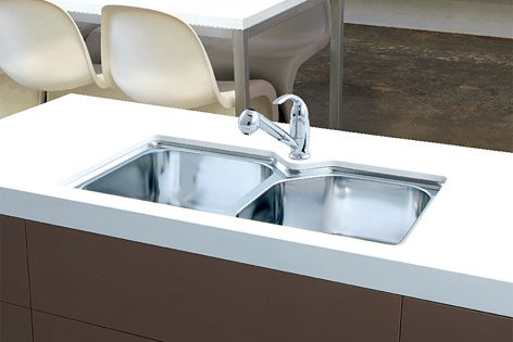 A five-sided bowl enables the Nu-Petite sink to be paired with a mixer tap on twin-bowl models.