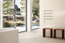 Modular heated towel rail by Vola
