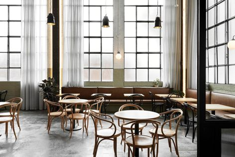 Ewert Leaf's design for There Cafe, which is situated in Footscray, impressed the jury with its nearly floor-to-ceiling windows and modern yet timeless atmosphere. Photography: Jenah Piwanski.