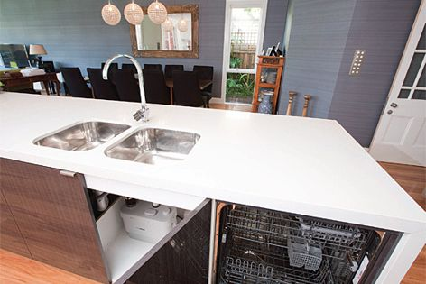 The Sanispeed grey wastewater pump has been used in this kitchen renovation.