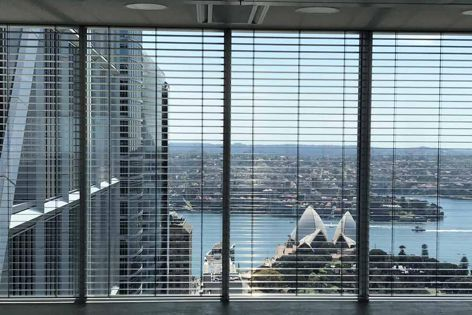 Warema mill-slat venetian blinds, which have perforated slat options to preserve lines of sight, are suitable for large commercial projects such as Sixty Martin Place by Hassell.