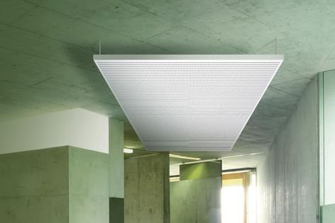 Knauf's eye-catching acoustic solutions Cleaneo Up and Cleaneo Adit offer outstanding sound absorption.