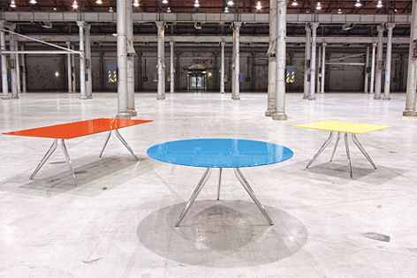 Made from post-consumer recycled aluminium and steel, the EONA table is designed for disassembly.