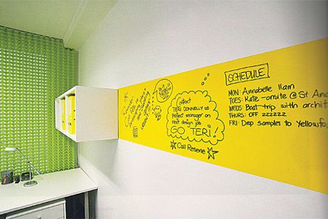 With Resene Write-on Wall Paint you can write on walls and erase when done.