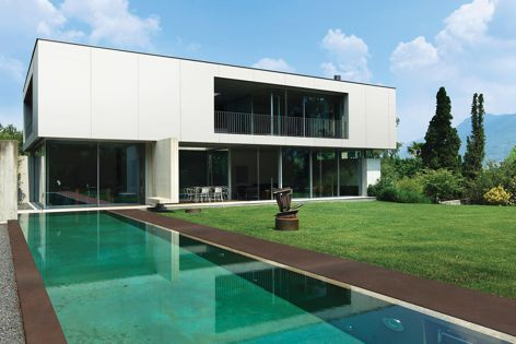 Dekton surfaces are available in a range of colours, including Kadum (used here at the pool edges).