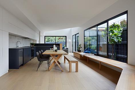 Australian Oak engineered flooring from ASH was used at Yarraville Light House, designed by Roam Architects. Photography: Tatjana Plitt.