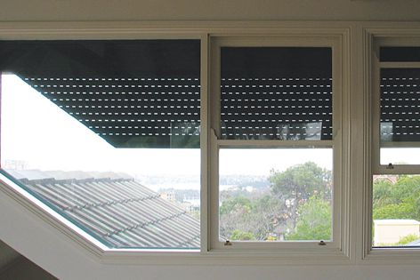 Even odd-shaped windows can be fitted with Blockout roller shutters to protect against conditions.