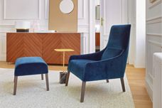 Ligne Roset Long Island armchair and footstool