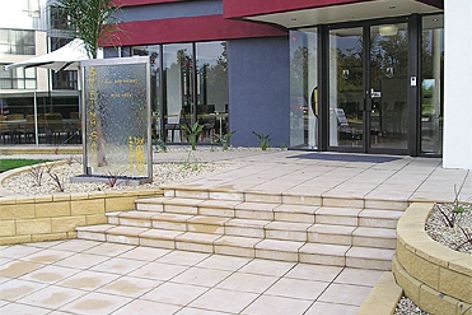 Riverstone pavers are available in three sizes and two textures.
