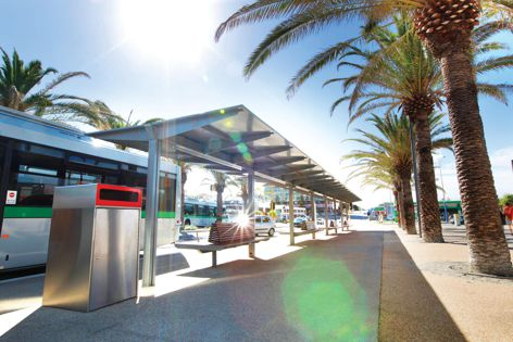Stoddart Outdoor Infrastructure created a bus shelter for Scarborough Beach, Western Australia.