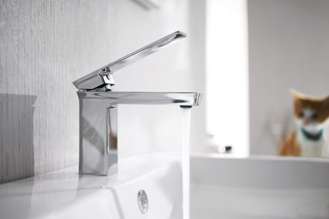 Bravat's elegant and practical Phillis basin mixer features modish square edges and a polished chrome finish.