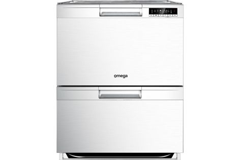 The double drawer ODD614X dishwasher has a stainless steel finish and electronic controls with  LED display.