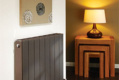 The aluminium radiators are available in four powdercoated finishes, including textured black gold.