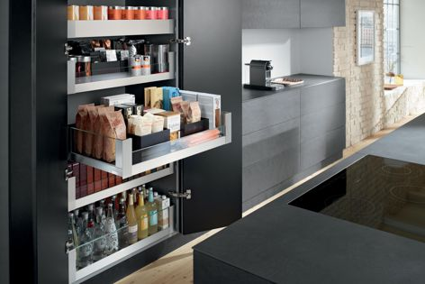 Blum's SPACE TOWER pantry unit can be tailored to individual needs and is designed to provide clear visibility and easy access to its contents from three sides.