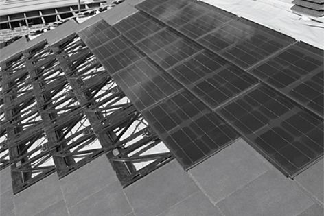 The design of Monier's new photovoltaic (PV) tiles works seamlessly with its flat profiled tiles.