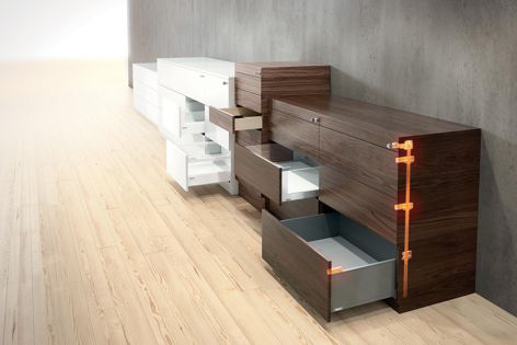 CABLOXX locking system can be colour coordinated with Blum's box systems.