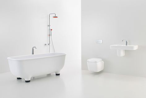 The Caroma Marc Newson bathroom collection features baths, mixer taps, showers, toilet suites and urinals.