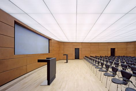 The honeycomb panel design of Techstyle acoustic ceilings absorbs high and low sound frequencies.