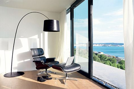 The Twiggy floor lamp, pictured in black, is available in four colours.