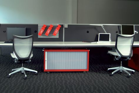 Air is delivered through employees' workstation screens by UCI's Task Air system.