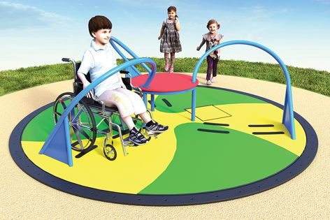 The all-access carousel from Moduplay has a large, rotating open platform. The design guides users into position to allow for a safe ride.