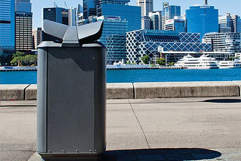 The Monsoon City Bin from Street Furniture features a winged roof that deters birds.