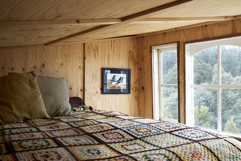 Weekender Cabin is lined almost entirely in Ecoply. Photography: Caitlin Mills for The Design Files.