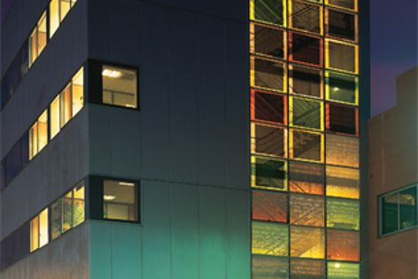 The facade of the Schott Barcelona building has been fitted with Schott Artista coloured glass.