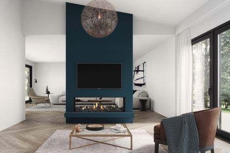 Televisions can now be placed closer to a fire with Escea's new DS1400 gas fireplace, with a reduced clearance height of 200 mm.