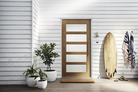 Corinthian Doors' Blonde Oak collection is durable and consistent.