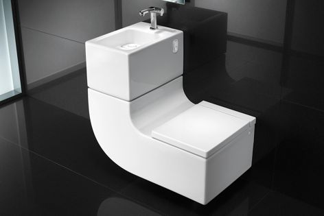 The L-shaped design of W+W maximizes space and presents a fusion of a toilet and washbasin.