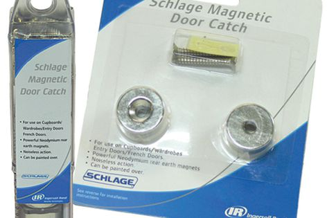 Problem doors are kept shut with the Schlage magnetic door catch.