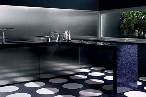 Bisazza's new glass countertop surfaces offers a contemporary alternative to traditional finishes.