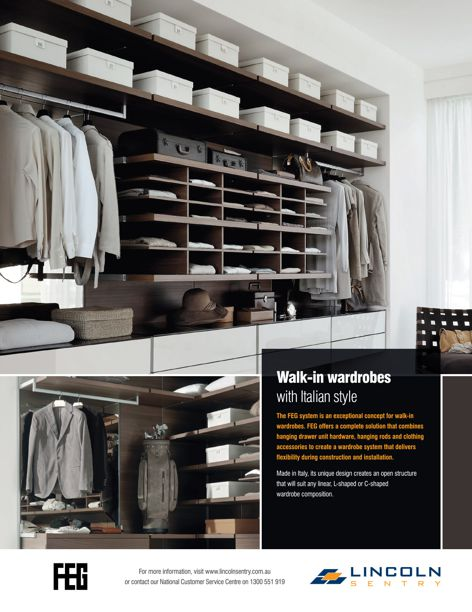 FEG walk-in wardrobes from Lincoln Sentry
